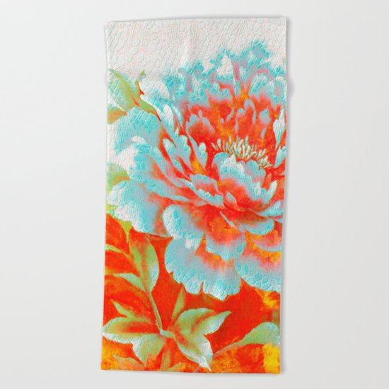 textured floral Beach Towel