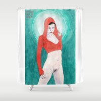 madonna Shower Curtains featuring Little Red Madonna by Bryan James