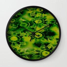 Lime Black Flowers Wall Clock