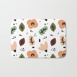 cute fall autumn pattern background with abstract elements, flowers and leaves Bath Mat