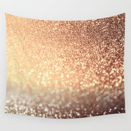 Cozy Copper Espresso Brown Ombre Autumnal Mermaid Glitter Wall Tapestry