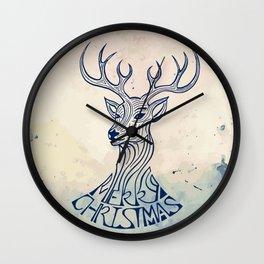Reindeer Illustration -  Vintage Christmas Theme Wall Clock
