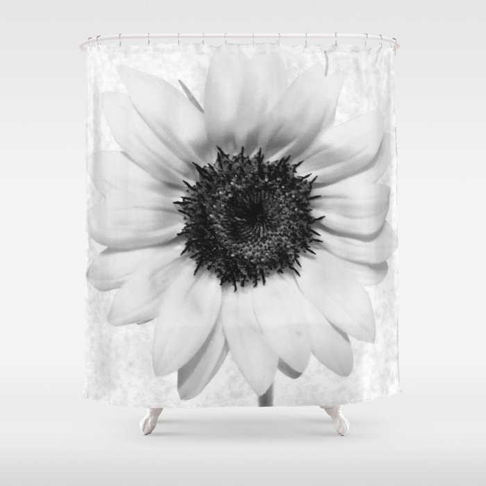Black And White Decolorization Sunflower Shower Curtain