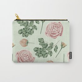 Rose Garden Delight Mint Green + Pink Carry-All Pouch