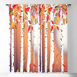 Autumn Birch Forest Blackout Curtain