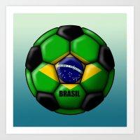 brasil Art Prints featuring Brasil Ball by kuuma