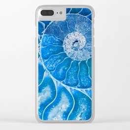 Blue colored Ammonite fossil Clear iPhone Case