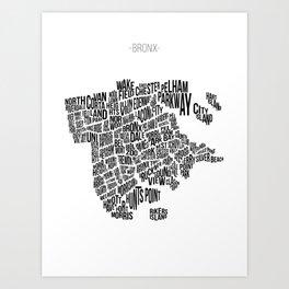 The Bronx, White Art Print