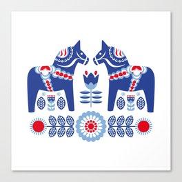 Blue Swedish Dalahäst Canvas Print