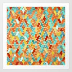 Tangerine & Turquoise Geometric Tile Pattern Art Print