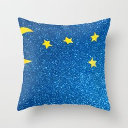 Sky with moon and stars over blue background Throw Pillow