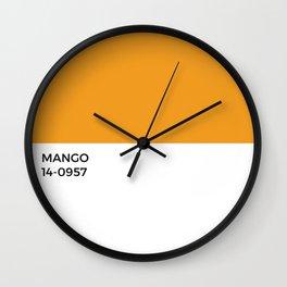 Mango Pantone Swatch Color Chip • Tropical • Fruit • Fruity • Sunshine • Tropics • Summer Palette • Warm Tones • Beach • Beachy • Modern Beach House • Mid-Century Modern • India • Indian • Sri Lanka • Hawaii • Paint Chip • Simple Design Wall Clock