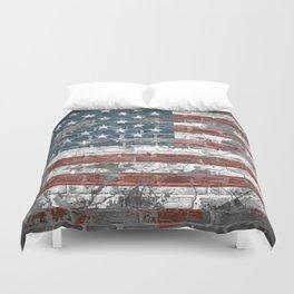 american flag on the brick Duvet Cover