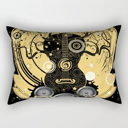 Retro geometric music themed design with guitar tree Rectangular Pillow