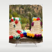 hats Shower Curtains featuring Straw hats by Simon Ede Photography