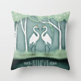 The Crane Princesses Throw Pillow