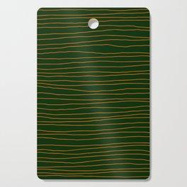 Hand Drawn Lines - Orange / Dark Green Cutting Board