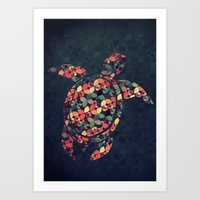 tortoise Art Prints featuring The Pattern Tortoise by VessDSign
