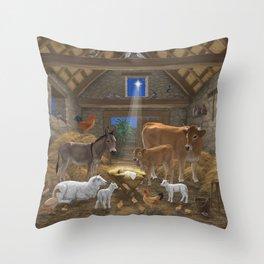 Baby Jesus Divine Manger Holy Night Christmas Nativity Scene Barnyard Farm Animals Throw Pillow