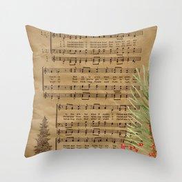 Vintage Christmas Music Neck Gator O Christmas Tree Throw Pillow