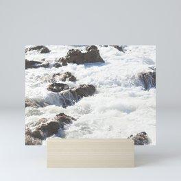 White water, dark rocks Mini Art Print
