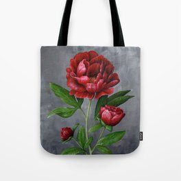 Red Peony Flower Painting Tote Bag