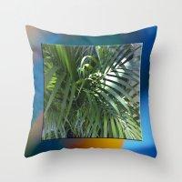 palm Throw Pillows featuring palm by Hannah Siegfried