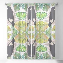 Tropical Bird Pattern, Tropical Leaf Print,Toucan Sheer Curtain