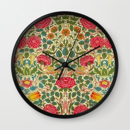William Morris Roses Floral Textile Pattern Wall Clock