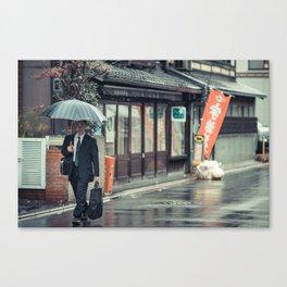 A Stroll in the Rain Canvas Print