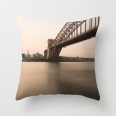 Hell Gate Bridge (NYC) at Sunset Throw Pillow