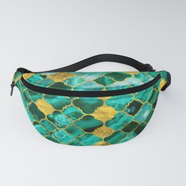 Quatrefoil Moroccan Pattern Green Malachite and gold Fanny Pack