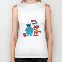 elmo Biker Tanks featuring Elmo & Cookie Fan Art by gabriela