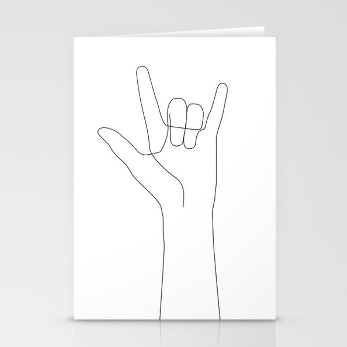 Love Hand Gesture Stationery Cards