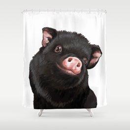 Cute Baby Black Pig Shower Curtain