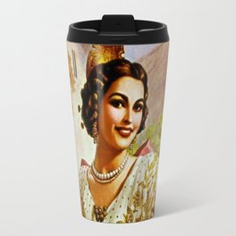 Mexican Calendar Girl in Embroidered Dress by Jesus Helguera Travel Mug
