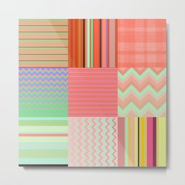 Stripes and chevron mixed color fantasy Metal Print