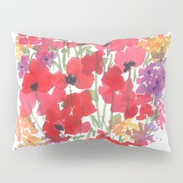Little Red Poppy Patch Pillow Sham