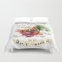 food Duvet Covers featuring Food Poster by Brooke Weeber