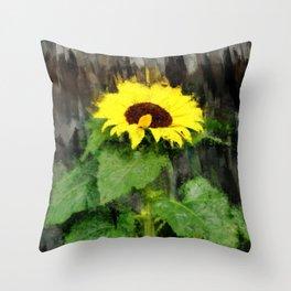 Dwarf Sunflower In A Pot - Painterly Throw Pillow