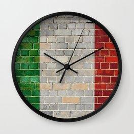Italy flag on a brick wall Wall Clock