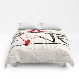 Love Letters Red Bird Clothesline A713 Comforters