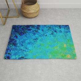 TRUE REFLECTION - Ocean Water Waves Ripple Light Impressionist Bright Colors Ombre Painting Rug