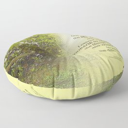 Serenity Prayer Tree Yellow Green Floor Pillow