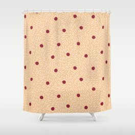 Polka dots and dashes // peach and burgundy Shower Curtain
