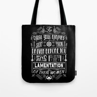 conan Tote Bags featuring What is best in life... by Purple Cactus