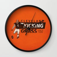 nfl Wall Clocks featuring Kicking Grass by Griggitees
