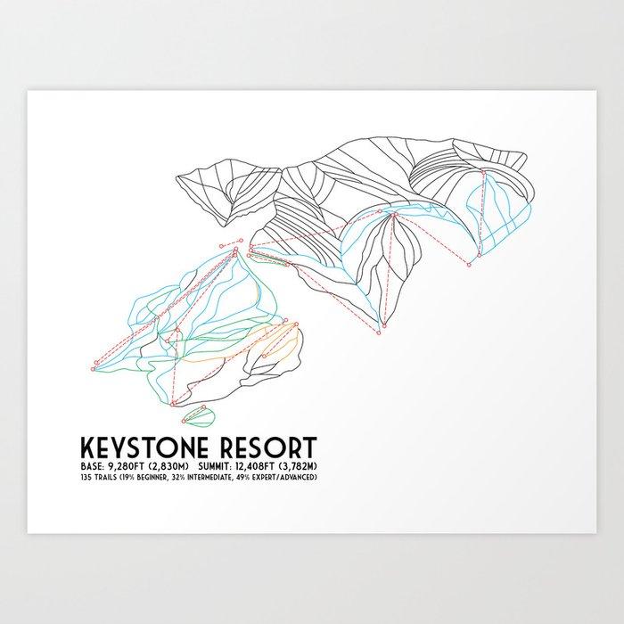 Keystone, CO - Minimalist Trail Map Kunstdrucke