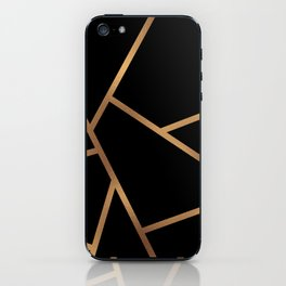 Black and Gold Fragments - Geometric Design iPhone Skin
