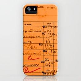 Library Card 23322 Orange iPhone Case